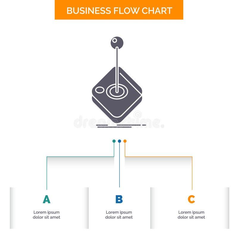 Galleri lek, dobbel, styrspak, design för diagram för pinneaffärsflöde med 3 moment Sk?rasymbol f?r presentationsbakgrundsmall stock illustrationer