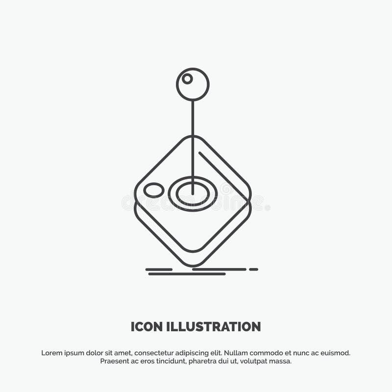 galleri lek, dobbel, styrspak, pinnesymbol Linje gr?tt symbol f?r vektor f?r UI och UX, website eller mobil applikation vektor illustrationer