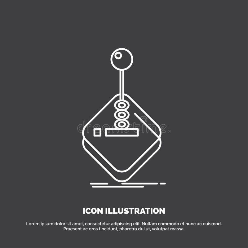 galleri lek, dobbel, styrspak, pinnesymbol Linje vektorsymbol f?r UI och UX, website eller mobil applikation royaltyfri illustrationer
