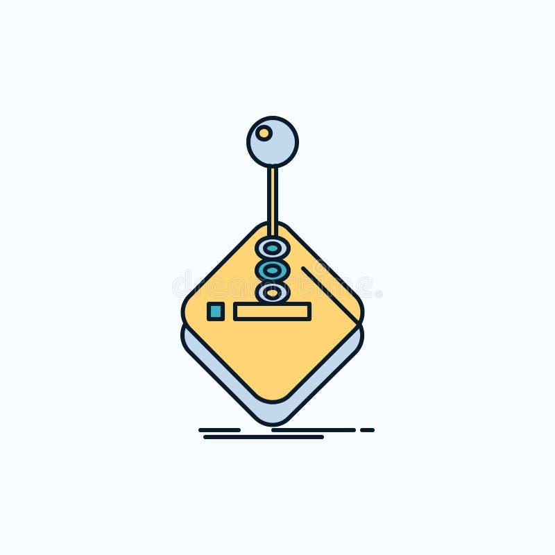 Galleri lek, dobbel, styrspak, plan symbol f?r pinne gr?nt och gult tecken och symboler f?r website och mobil appliation vektor royaltyfri illustrationer