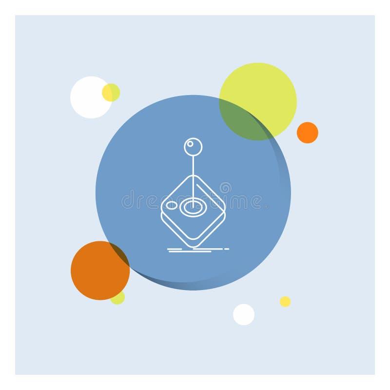Galleri lek, dobbel, styrspak, vit linje färgrik cirkelbakgrund för pinne för symbol vektor illustrationer