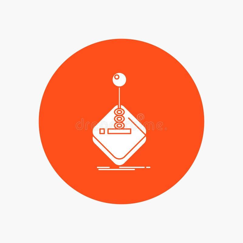 Galleri lek, dobbel, styrspak, vit sk?rasymbol f?r pinne i cirkel Vektorknappillustration stock illustrationer
