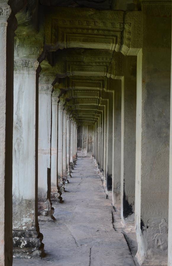 Galleri på Angkor Wat royaltyfria bilder