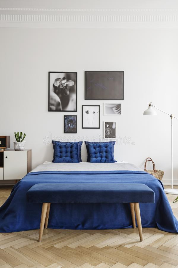 Galleri på en vit vägg ovanför en marinblå säng med eleganta kuddar i en stilfull sovruminre royaltyfri foto