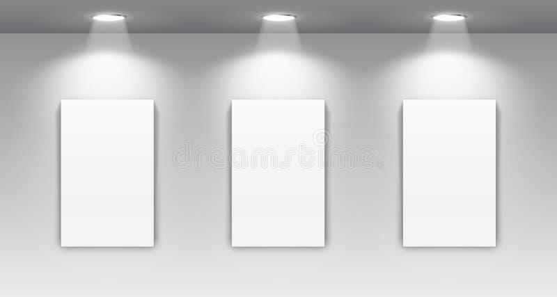 Galleri som är inre med den upplysta strålkastaren och den tomma ramen för målningar - vektor vektor illustrationer