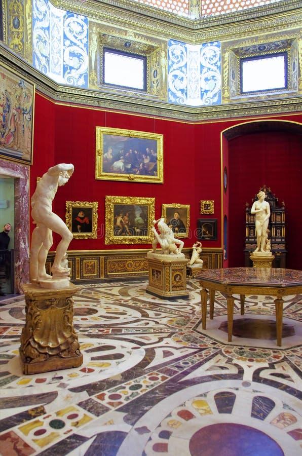 Galleri Uffizi i Florence, Italien fotografering för bildbyråer