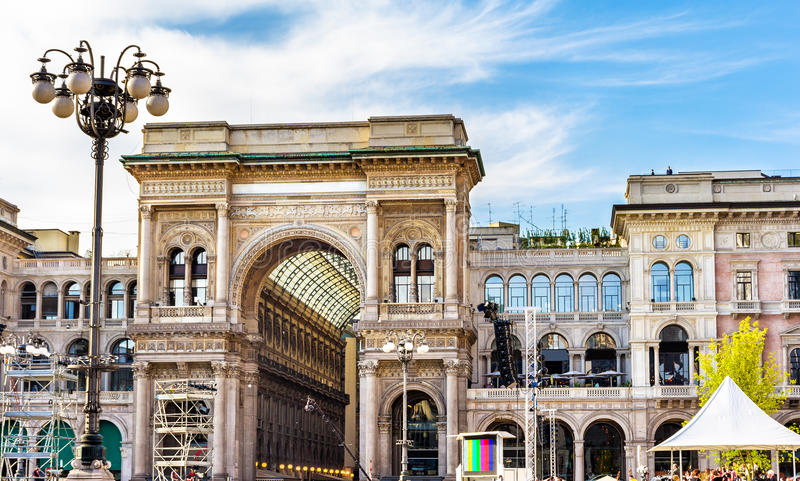 galleria ΙΙ του Emanuele vittorio του Μιλάνου στοκ φωτογραφίες