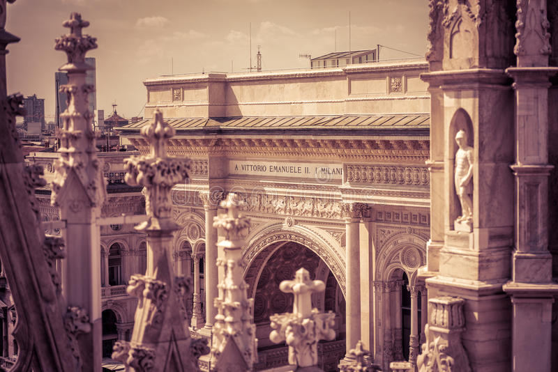 galleria ΙΙ του Emanuele vittorio του Μιλάνου στοκ εικόνες