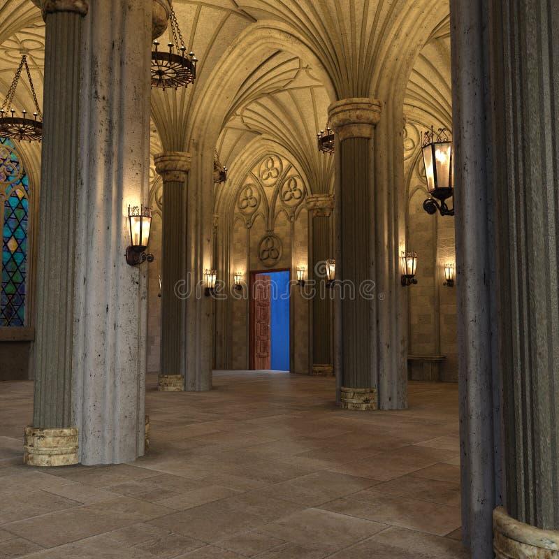 Galleria 3d interno di lusso dell'arco gotico rendere immagini stock libere da diritti