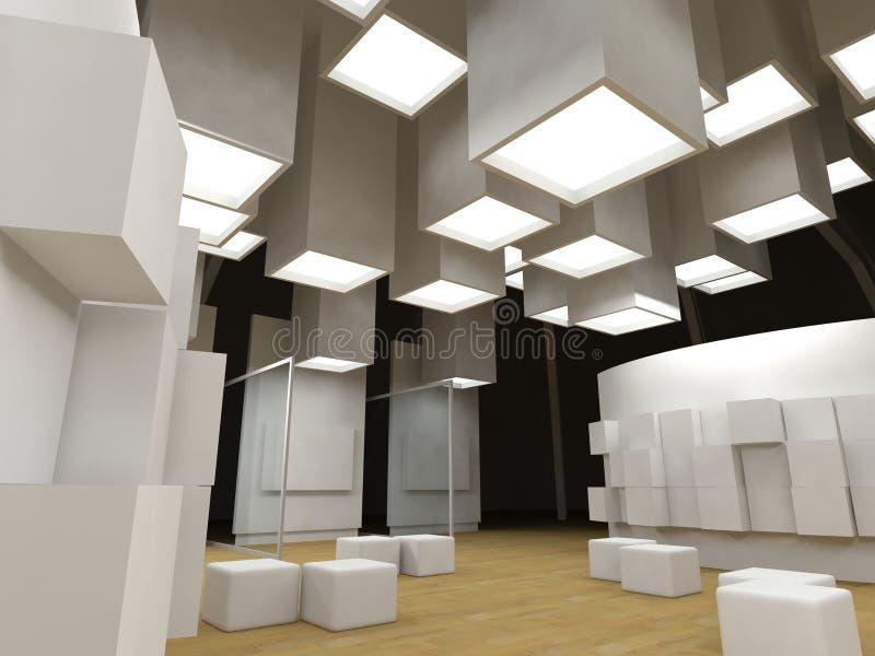 Galleria di arte con i blocchi per grafici in bianco fotografia stock libera da diritti