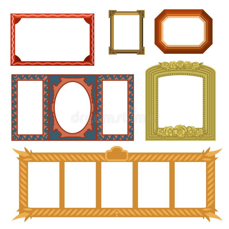 Galleria di arte decorativa della foto di vettore di mostra interna del museo della cornice sulla parete antica d'annata della de illustrazione vettoriale