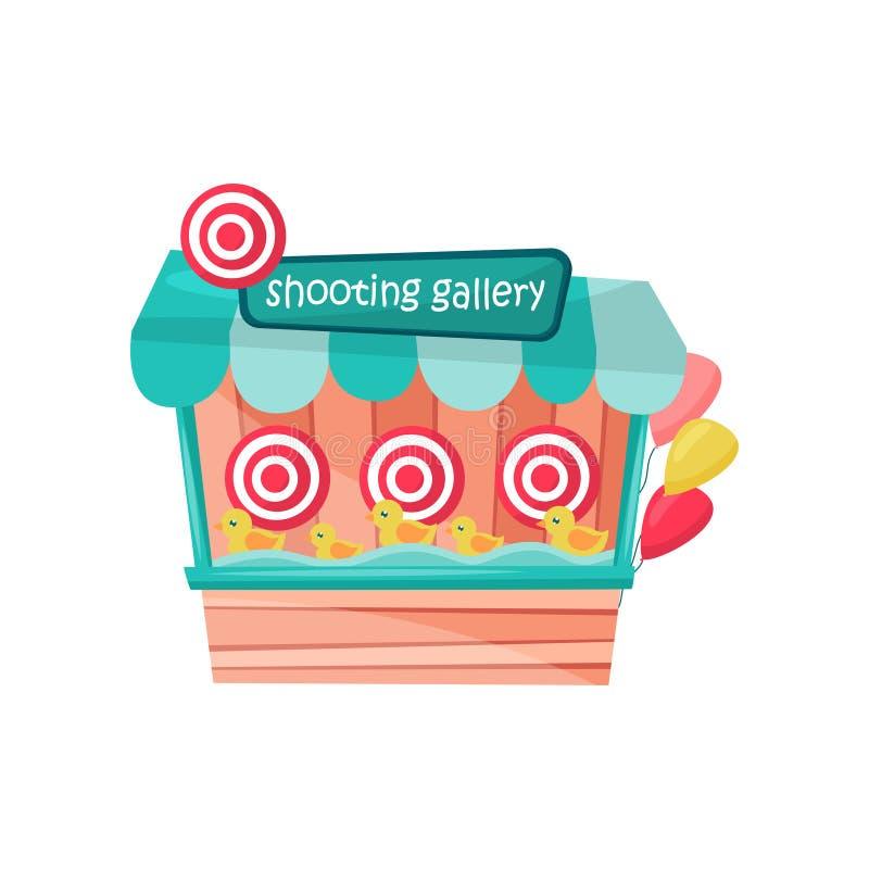 Galleria di fucilazione con le anatre e gli obiettivi al parco di divertimenti Piccola stalla con gli aerostati Gioco di divertim royalty illustrazione gratis