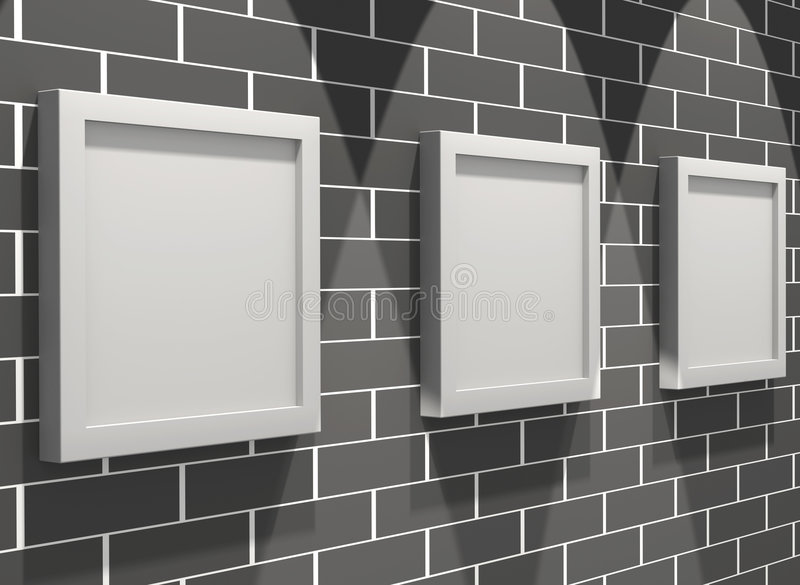 Download Galleria Di Maschera 3d Su Un Muro Di Mattoni Illustrazione di Stock - Illustrazione di blank, ornamentale: 7300970