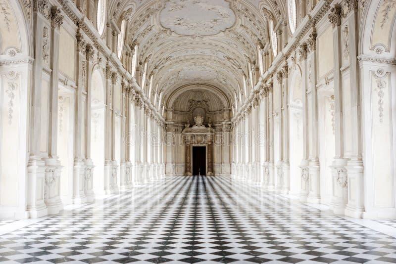 Galleria Grande, het Paleis van Venaria Reale, Turijn, Italië stock fotografie