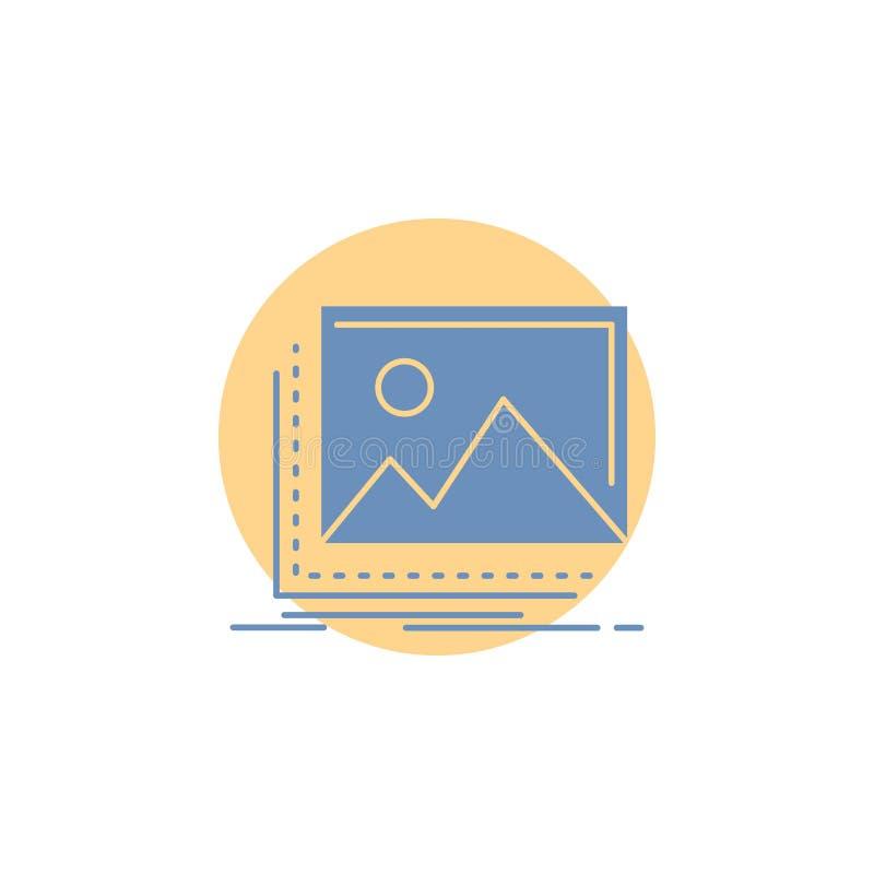 galleria, immagine, paesaggio, natura, icona di glifo della foto illustrazione di stock