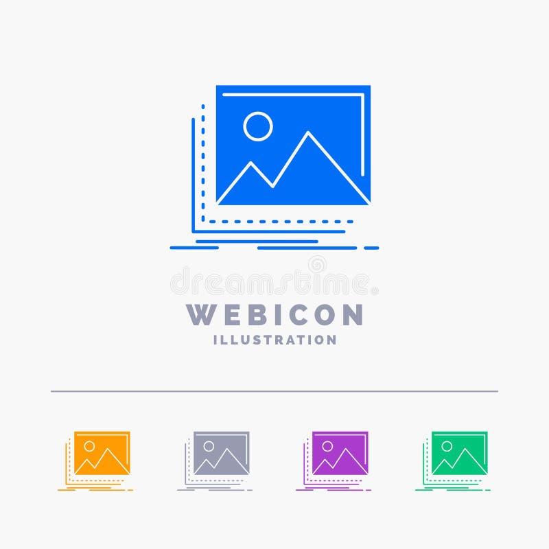 galleria, immagine, paesaggio, natura, modello dell'icona di web di glifo di colore della foto 5 isolato su bianco Illustrazione  illustrazione vettoriale