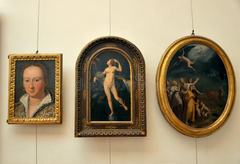 Galleria interna di Uffizi a Firenze, Italia immagine stock libera da diritti