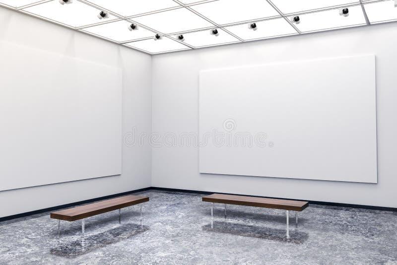 galleria interna moderna 3d con le pareti e la tela bianche illustrazione di stock