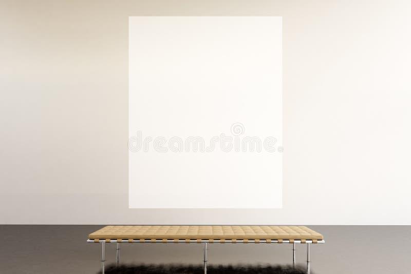 Galleria moderna dello spazio di mostra della foto Museo di arte contemporanea d'attaccatura della tela vuota bianca enorme Stile fotografia stock