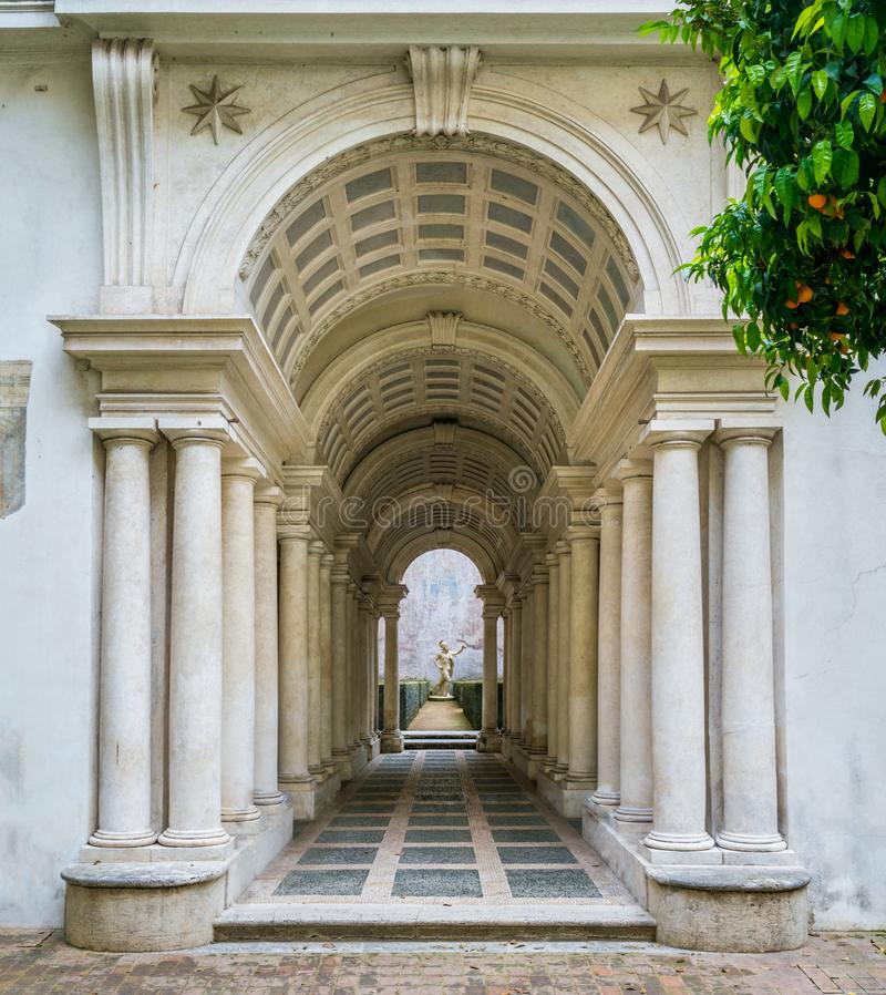 The forced perspective gallery by Francesco Borromini in Palazzo Spada, in Rome, Italy. The Galleria Spada is a museum in Rome, which is housed in the Palazzo royalty free stock images