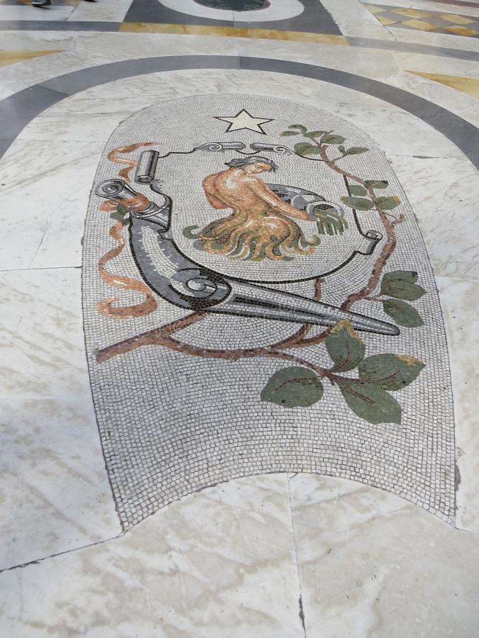 Galleria Umberto I floor mosaic. Naples, Italy. royalty free stock photography