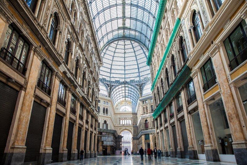 Galleria Umberto io una galleria di compera pubblica a Napoli fotografia stock