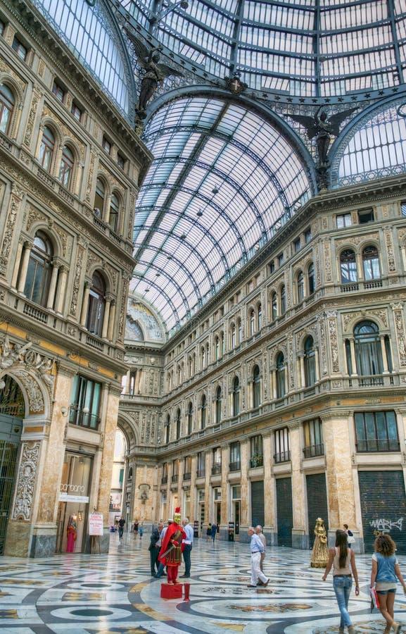 Galleria Umberto and street artists, Naples, Italy royalty free stock photos