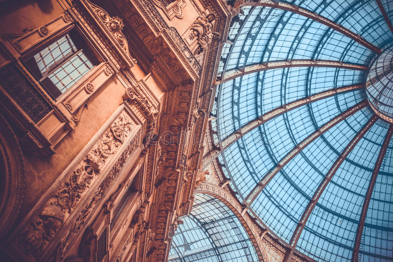 Galleria. View of Galleria Vittorio Emanuele II in Milan, Italy. Toned picture royalty free stock photos