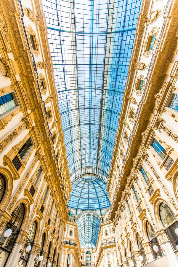 Galleria Vittario Emanuele II. In the center of Milan, Italy. The glass ceiling. It is the oldest active shopping mall in the country royalty free stock photos