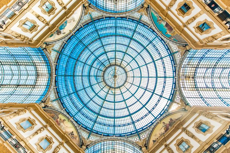 Galleria Vittario Emanuele II. In the center of Milan, Italy. The glass ceiling. It is the oldest active shopping mall in the country stock photography