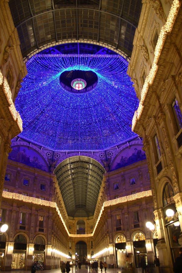 Galleria Vittorio Emanuele. In Milan by night royalty free stock photos