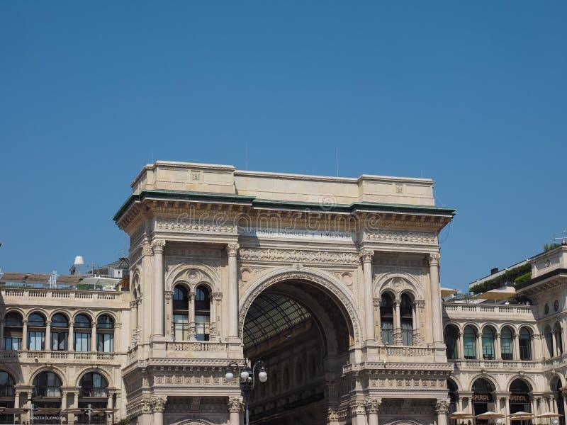 Galleria Vittorio Emanuele II arcade in Milaan royalty-vrije stock afbeelding