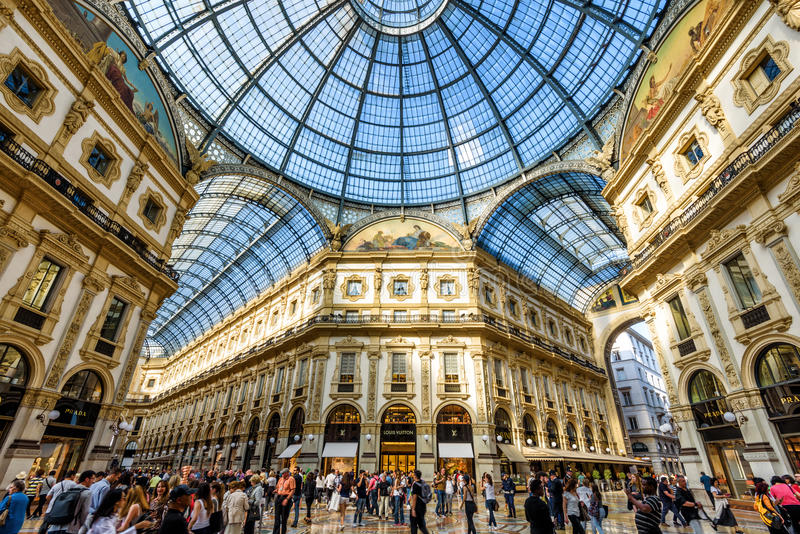 The Galleria Vittorio Emanuele II in Milan, Italy. MILAN, ITALY - MAY 16, 2017: The Galleria Vittorio Emanuele II on the Piazza del Duomo in central Milan. This royalty free stock photo