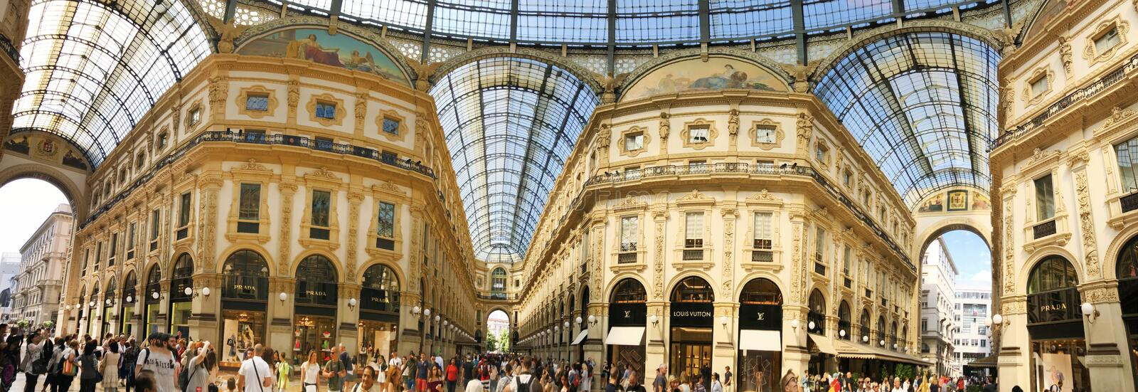 Galleria Vittorio Emanuele II in Milan ,Italy. MILAN, ITALY - JUNE 27,2018 : Galleria Vittorio Emanuele II in Milan is one of the most popular shopping areas in royalty free stock image