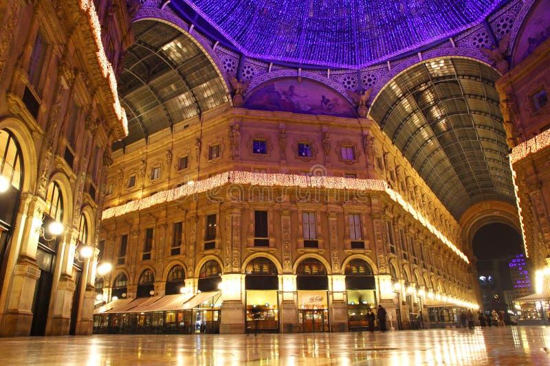 Galleria Vittorio Emanuele in Milan. Galleria Vittorio Emanuele shopping Center in night. Milan, Italy stock photo