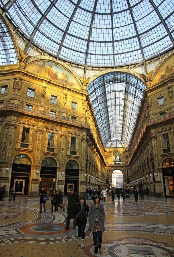 Galleria Vittorio Emanuele shopping Center in Milan stock images
