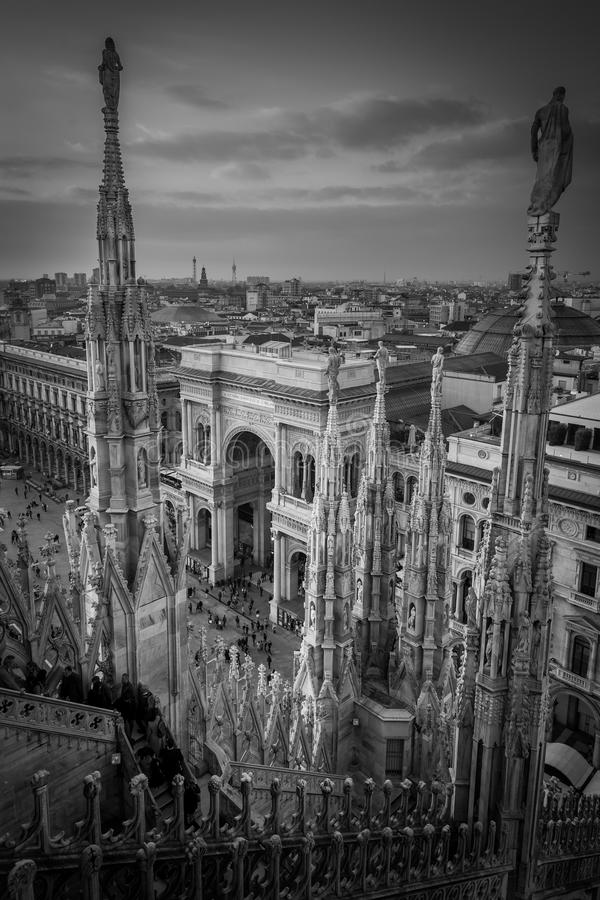 Galleria Vittorio Emanuele view from Duomo roof terrace Milan Italy black and white image. Galleria Vittorio Emanuele view from Duomo roof terrace Milan Italy royalty free stock images