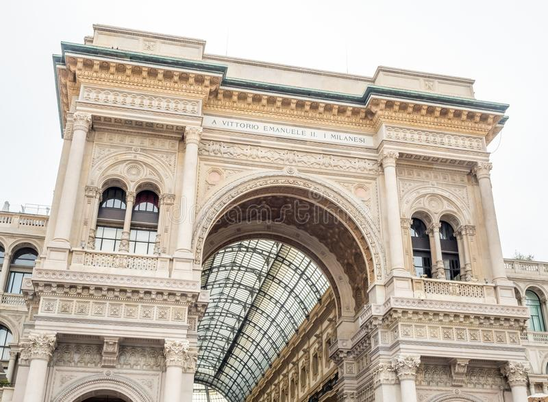 Galleria Vittorio Emmanuel στο Μιλάνο, Ιταλία στοκ φωτογραφία με δικαίωμα ελεύθερης χρήσης