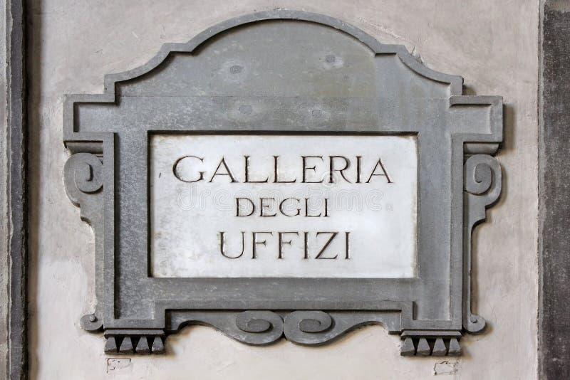 Galleriadegli Uffizi, gataplatta i Florence arkivfoto