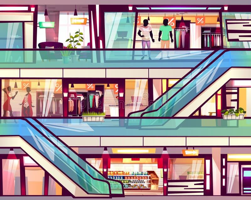 Gallerian shoppar illustrationen för rulltrappatrappuppgångvektorn royaltyfri illustrationer