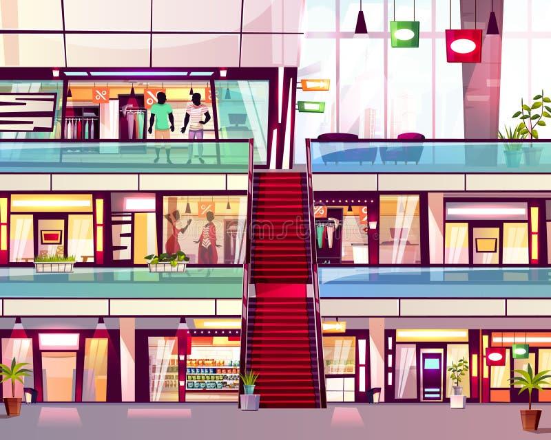 Gallerian shoppar med rulltrappavektorillustrationen royaltyfri illustrationer