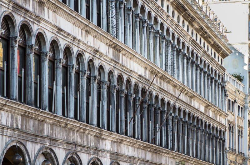 Gallerie della facciata sulla piazza San Marco a Venezia, Italia immagine stock libera da diritti
