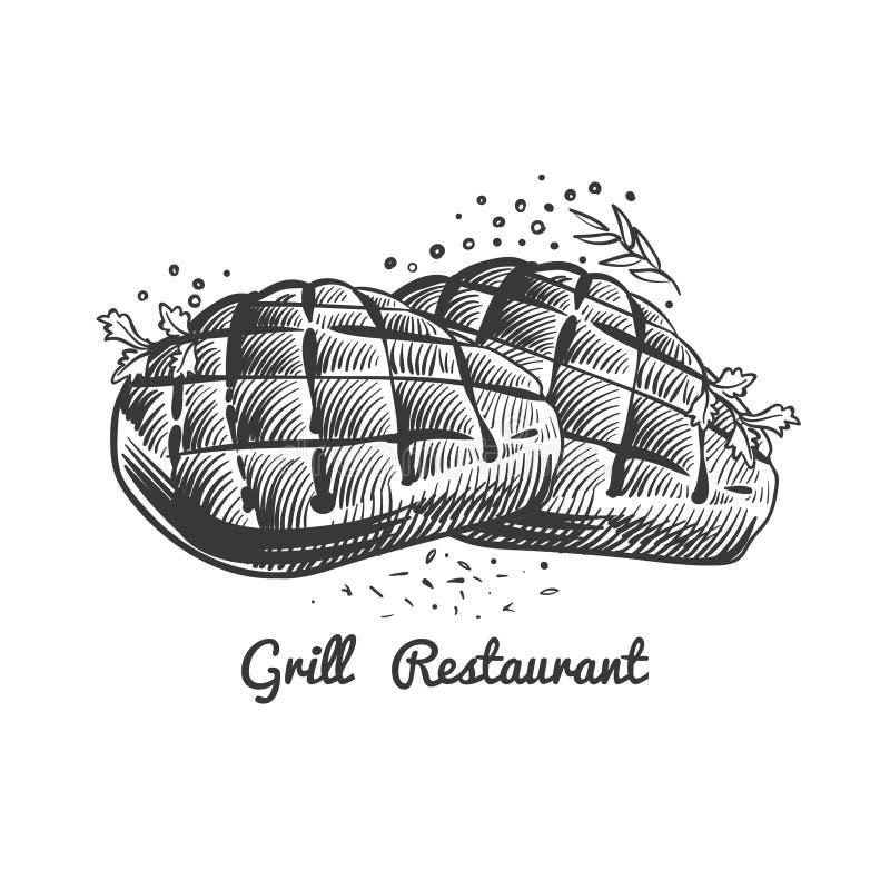 Gallerrestaurang, stekhusvektorillustration med utdragna biffar för hand och kryddigt stock illustrationer