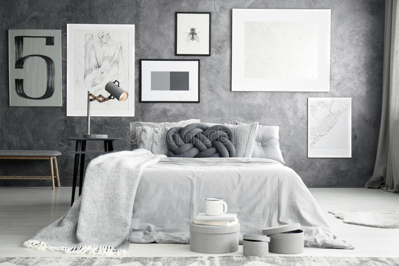 Gallery in bedroom interior stock photography