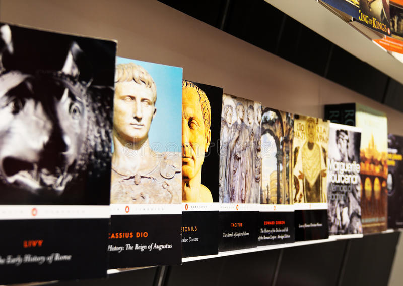 Gallery of books on the history of the Roman Empire in Coliseum, Rome stock photos