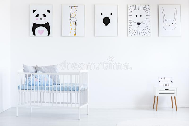 Gallery in boy`s bedroom royalty free stock photography
