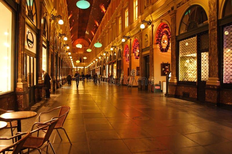 St Hubert Gallery in Brussels, Belgium. St Hubert Gallery in Brussels at evening in Christmas time royalty free stock photos