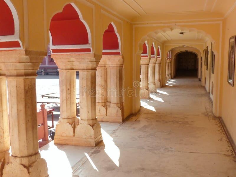 Gallery at Chandra Mahal in Jaipur City Palace, Rajasthan, India royalty free stock images