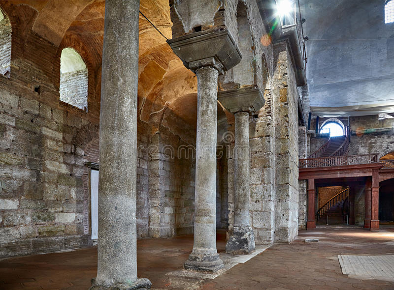 The gallery of columns in the interior of Hagia Irene (Saint Ire. ISTANBUL, TURKEY - JULY 12, 2014: The interior of Hagia Irene (Saint Irene). Hagia Irene, the royalty free stock images