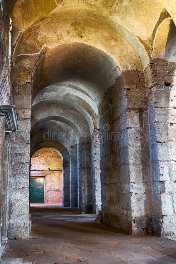 The gallery of columns in the interior of Hagia Irene (Saint Ire. ISTANBUL, TURKEY - JULY 12, 2014: The interior of Hagia Irene (Saint Irene). Hagia Irene, the royalty free stock image